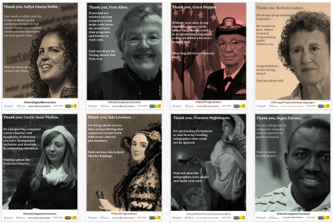 Posters celebrating computer science diversity