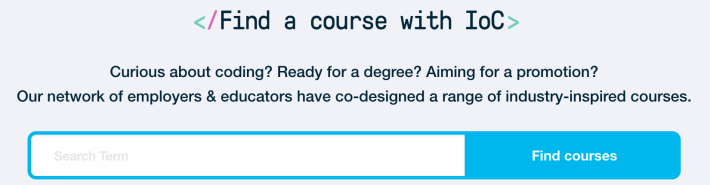 A screenshot of the IoC's Find a Course search bar