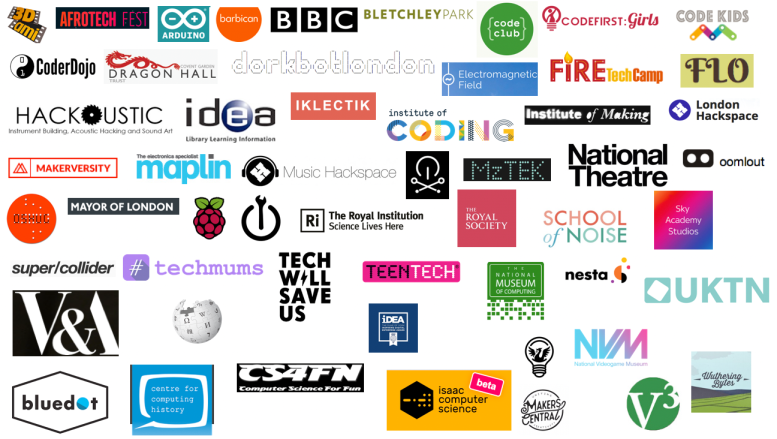 Screenshot of various logos of providers of courses, events or tech kits and support