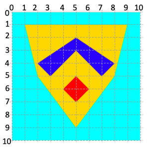 Shield with grid overlay
