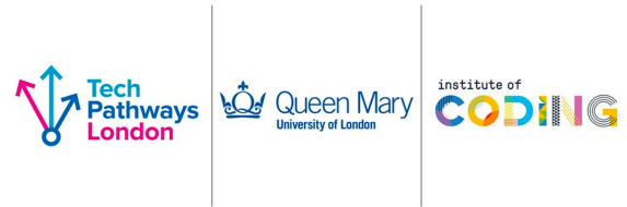 Logo for TechPathways London, Queen Mary University of London and Instiute of Coding