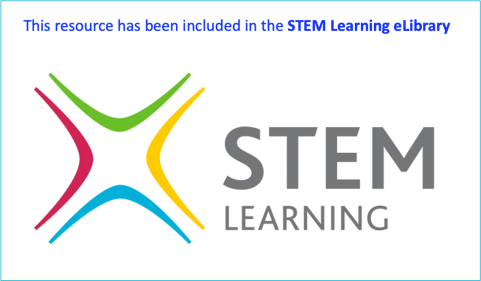 """A badge made from the STEM Learning logo with text saying """"This resource has been included in the STEM Learning eLibrary"""""""